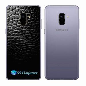Samsung Galaxy A8 Plus Adesivo Skin Couro Preto Negro