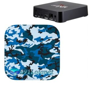 TV Box 4k Adesivo Skin Decal Sticker Camo Azul
