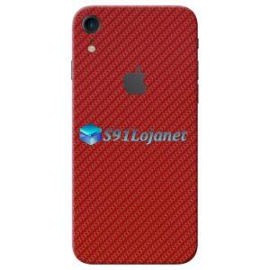iPhone XR Adesivo Skin Carbono Vermelho