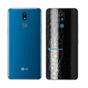 LG K12+ Adesivo Traseiro Película FX Couro Negro