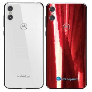 Motorola One Adesivo Traseiro Película Metal Gold Red