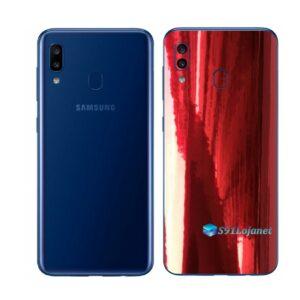 Galaxy A20 Adesivo Skin Película Tras Metal Gold Red