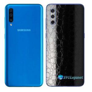 Galaxy A50 Adesivo Skin Película Tras FX Couro Negro