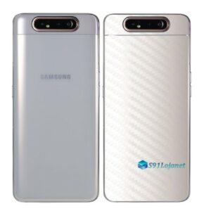 Galaxy A80 Adesivo Skin Película Tras Carbono Branco