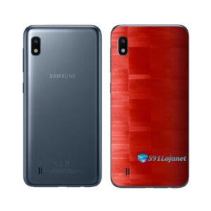 Galaxy M10 Adesivo Skin Película Tras FX Pixel Vermelho