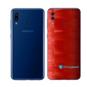Galaxy M20 Adesivo Skin Película Tras FX Pixel Vermelho