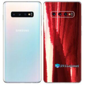 Galaxy S10 5G Adesivo Skin Película Tras Metal Gold Red