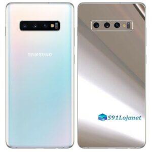 Galaxy S10 Plus Adesivo Skin Película Tras Metal Cromo