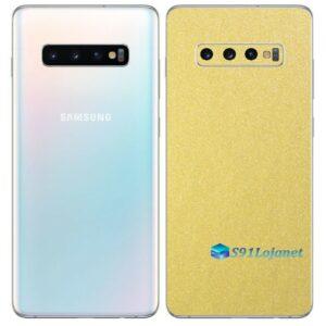 Galaxy S10 Plus Adesivo Skin Película Tras Metal Dourado