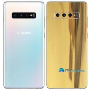 Galaxy S10 Plus Adesivo Skin Película Tras Metal Ouro Gold