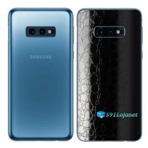 Galaxy S10e Adesivo Skin Película Tras FX Couro Negro