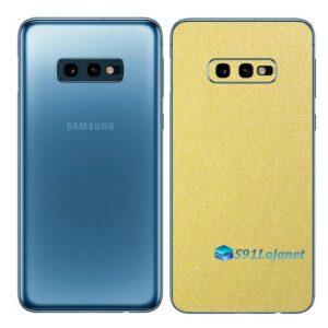 Galaxy S10e Adesivo Skin Película Tras Metal Dourado