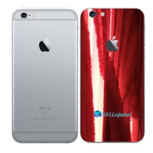 iPhone 6s Plus Adesivo Skin Película Traseira Metal Gold Red