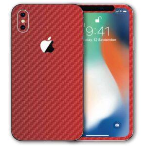 iPhone XS Apple Adesivo Skin Película Fibra Vermelho
