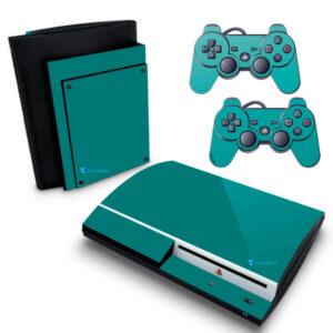 Adesivo Skin Playstation 3 PS3 Fat Pelicula BrilhoVinil Cor Verde Dark