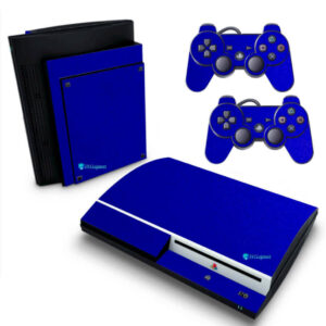 Adesivo Skin Playstation 3 PS3 Fat Pelicula Metalico Brilho Azul