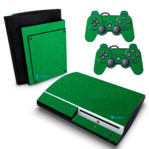 Adesivo Skin Playstation 3 PS3 Fat Pelicula Metalico Brilho Verde