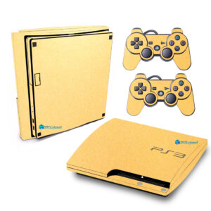 Adesivo Skin Playstation 3 Slim PS3 Pelicula Metalico Brilho Gold