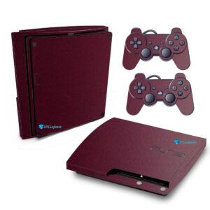 Adesivo Skin Playstation 3 Slim PS3 Pelicula Metalico Malbec