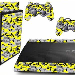 Adesivo Skin Playstation 3 Super Slim PS3 Pelicula Camo Yellow