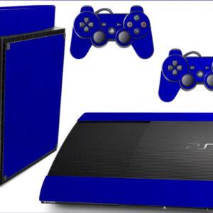 Adesivo Skin Playstation 3 Super Slim PS3 Pelicula Metalico Brilho Azul