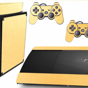 Adesivo Skin Playstation 3 Super Slim PS3 Pelicula Metalico Brilho Gold