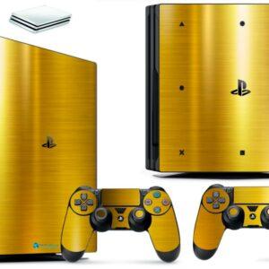 Adesivo Skin Playstation 4 PS4 Pro Pelicula Ouro Cromo Escovado