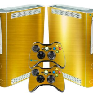 Adesivo Skin Xbox 360 Fat Pelicula Ouro Cromo Escovado