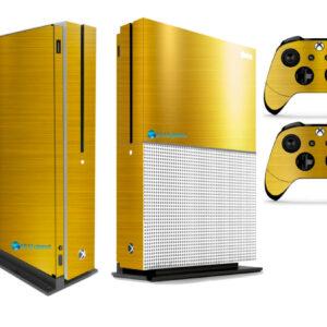 Adesivo Skin Xbox One S Pelicula Ouro Cromo Escovado
