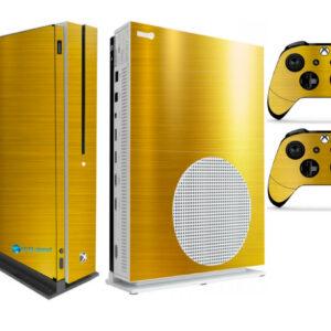 Adesivo Skin Xbox One S V2 Pelicula Ouro Cromo Escovado