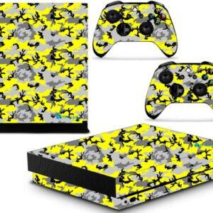 Adesivo Skin Xbox One X Pelicula Camo Yellow