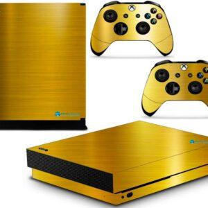 Adesivo Skin Xbox One X Pelicula Ouro Cromo Escovado