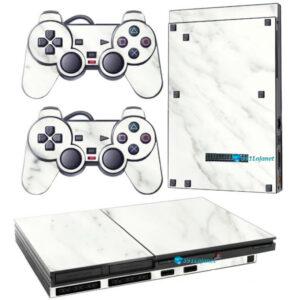 Adesivo Skin Playstation 2 Slim PS2 V1 Pelicula Marmore Bianco