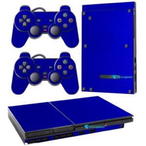 Adesivo Skin Playstation 2 Slim PS2 V1 Pelicula Metalico Brilho Azul