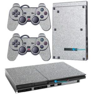 Adesivo Skin Playstation 2 Slim PS2 V1 Pelicula Metalico Brilho Cinza