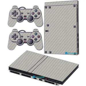 Adesivo Skin Playstation 2 Slim PS2 V2 Pelicula Fibra Cinza