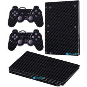 Adesivo Skin Playstation 2 Slim PS2 V2 Pelicula Fibra Preto