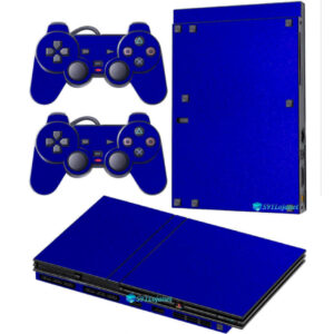 Adesivo Skin Playstation 2 Slim PS2 V2 Pelicula Metalico Brilho Azul