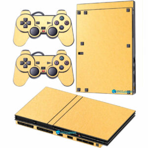 Adesivo Skin Playstation 2 Slim PS2 V2 Pelicula Metalico Brilho Gold