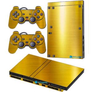 Adesivo Skin Playstation 2 Slim PS2 V2 Pelicula Ouro Cromo Escovado