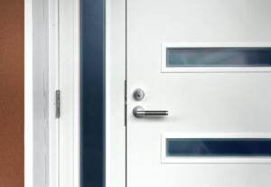 Modern white front door with handle