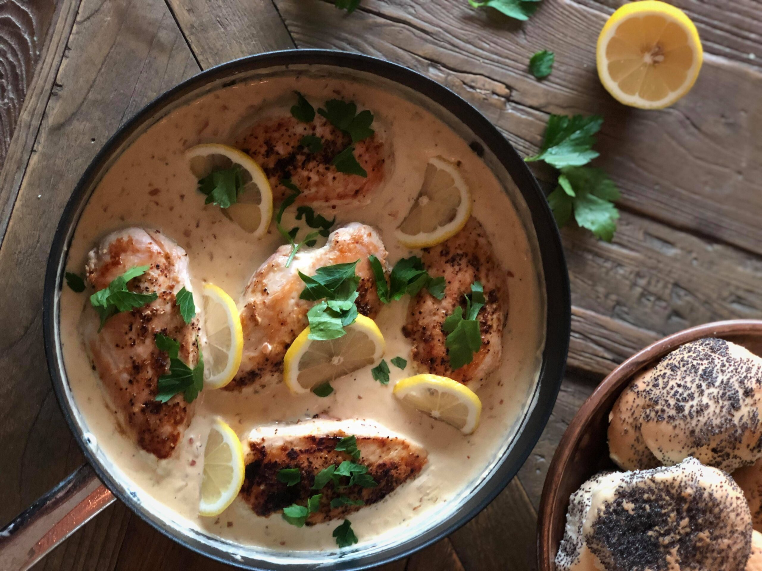 Kylling med hvitløk og sitronsaus