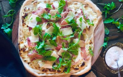 Hvit pizza med trøffelolje