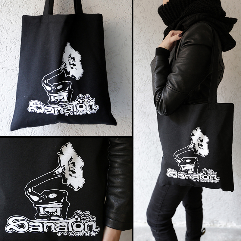 Black bag with gramophone logo