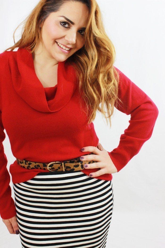 Pencil Skirt kombiniert mit Pullover mit Schalkragen 1_pp