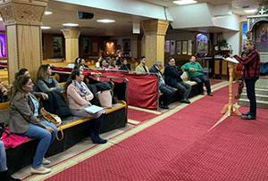A church service in a Coptic Orthodox church