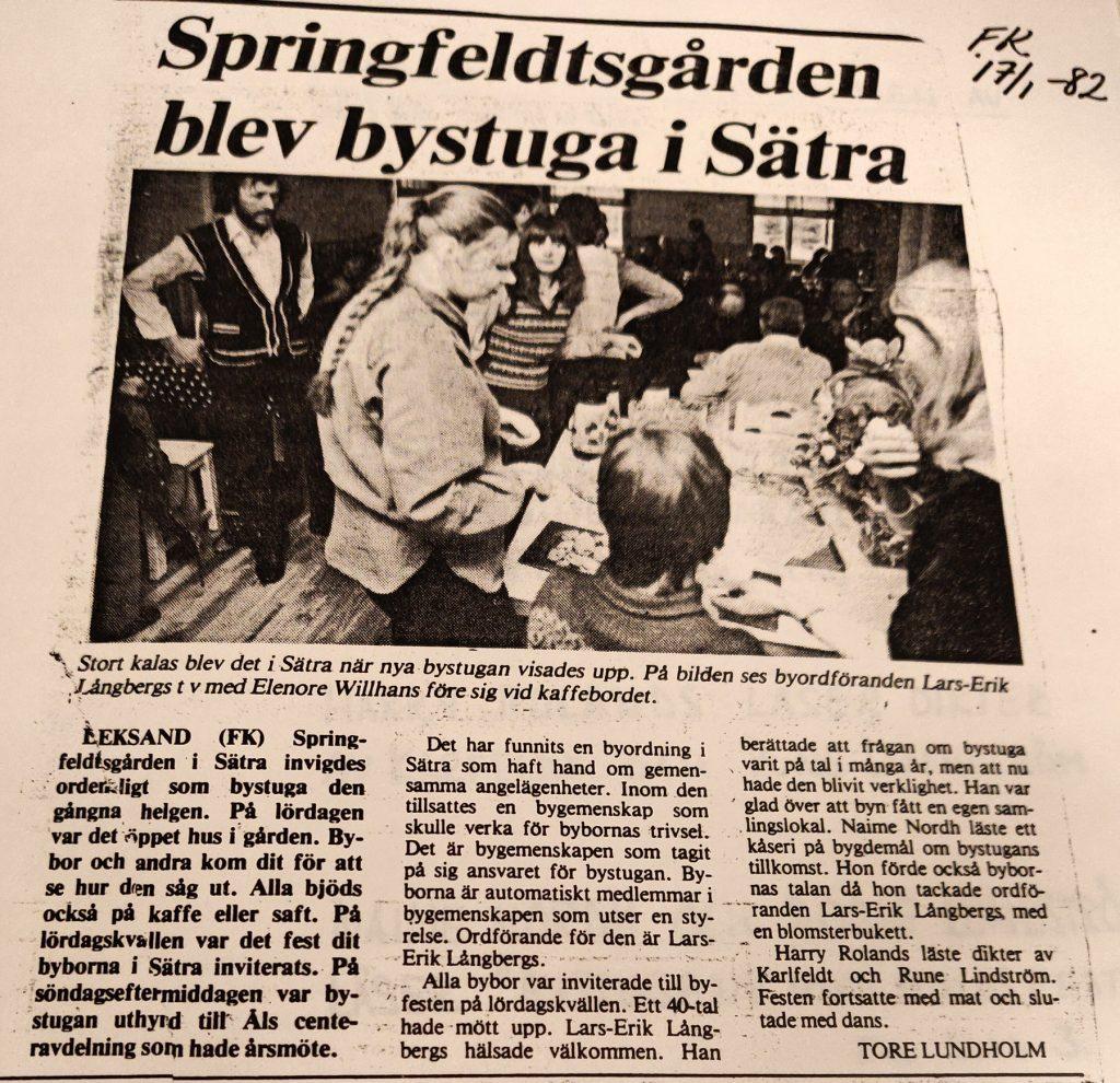 Invigningen i artikel ur FaluKuriren 17/1 1982