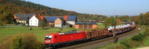 Von Maschen nach Nürnberg - DB Cargo Güterzug mit Ellok Baureihe  187 TRAXX im Einzelwagenverkehr bei Hermannspiegel