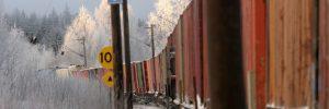 Godståg  passerar Tällberg vinter Inlandsgods