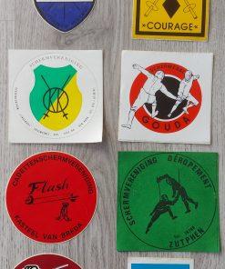 Stickers schermen van schermclubs vintage
